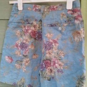 Vtg Ralph Lauren Romantic Floral Linen Shorts 4